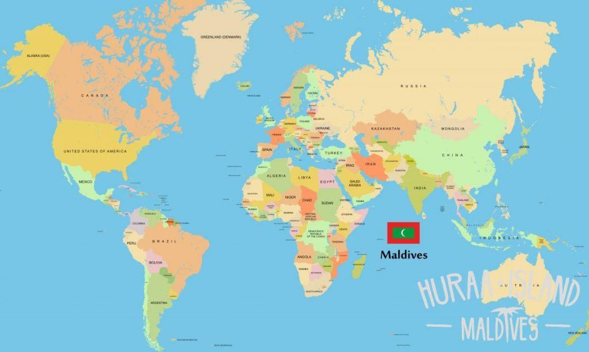 mapa de maldivas no mapa do mundo